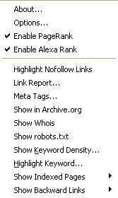 Toolbar context menu